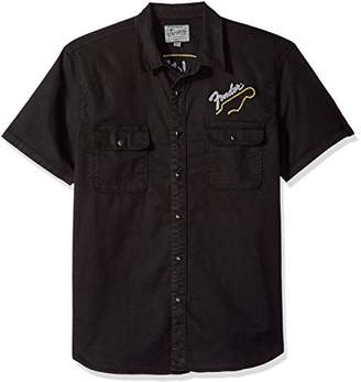 Lucky Brand Men's Casual Short Sleeve Button Down Shirt with Fender Graphic