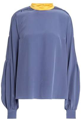 Roksanda Satin-Trimmed Gathered Silk Crepe De Chine Blouse