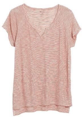 Women's Madewell Brea Stripe Split Neck Tee $42 thestylecure.com