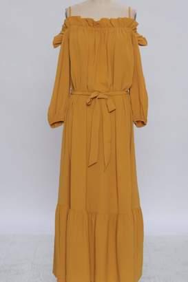 Flying Tomato Mustard Off-Shoulder Dress