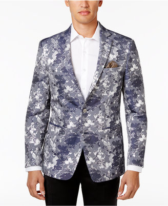 Tallia Men's Slim-Fit Blue Floral Metallic Dinner Jacket $350 thestylecure.com