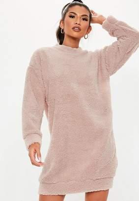 Missguided Pink Borg Teddy Crew Neck Sweatshirt Dress