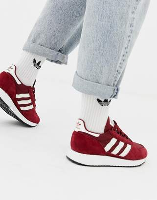 adidas burgundy and white Forest Grove sneakers