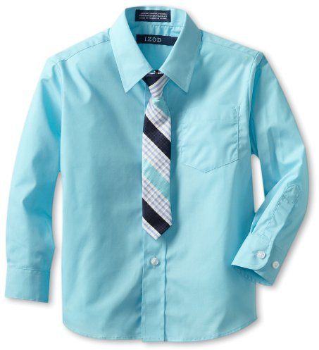 Izod Kids Boys 2-7 Long Sleeve Solid Broadcloth Shirt and Tie Set