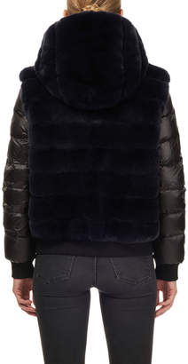 Gorski Rabbit Fur & Puffer Sleeve Hooded Jacket