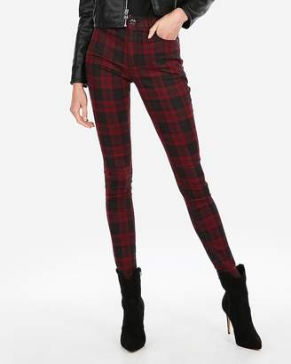 Express High Waisted Plaid Stretch+ Ankle Leggings