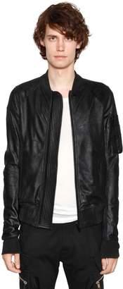 Rick Owens Soft Waxed Leather Bomber Jacket