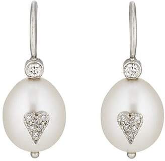Cathy Waterman Women's Pearl & Diamond Drop Earrings - Pearl