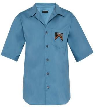 Prada Logo Patch Stretch Cotton Blend Poplin Shirt - Mens - Blue Multi