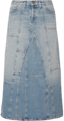 Current/Elliott - The Diy Patchwork Denim Maxi Skirt - Mid denim $290 thestylecure.com