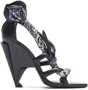 Jimmy Choo Woman Kalypso Printed Twill-trimmed Leather Sandals Black Size 39 Jimmy Choo London Visit Cheap Online I8xz3y