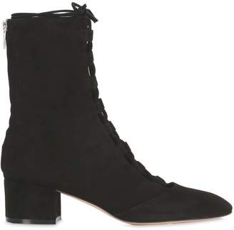 Gianvito Rossi 45mm Lace-Up Suede Ankle Boots