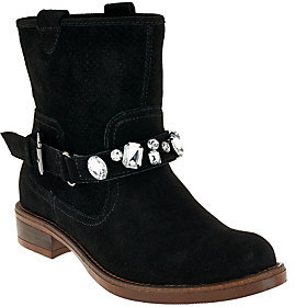 As Is Kensie Suede Ankle Boots w/ Embellished Strap - Squire $70 thestylecure.com