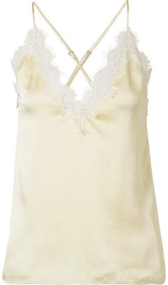 CAMI NYC The Everly Lace-trimmed Silk-charmeuse Camisole - Pastel yellow