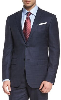 Ermenegildo Zegna Milano Plaid Two-Piece Wool Suit, Blue $3,095 thestylecure.com