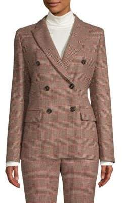 Max Mara Monile Double-Breasted Plaid Jacket