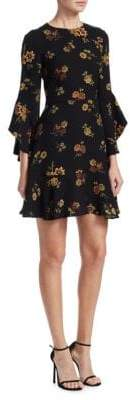 A.L.C. Cassidy Silk Ruffle Bell-Sleeve Mini Dress
