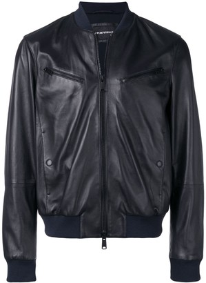 leather look bomber jacket