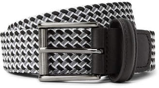 Andersons Anderson's - 3.5cm Leather-Trimmed Woven Elastic Belt - Gray