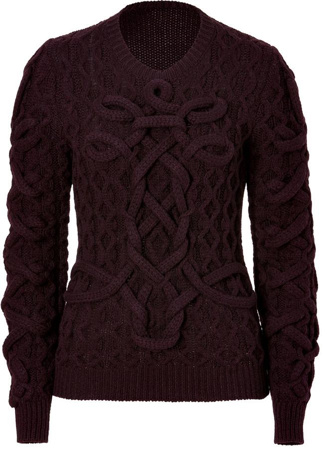 Salvatore Ferragamo Plum Wool Structural Knit Pullover