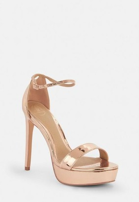 7cb1ee41f57 Missguided Rose Gold Simple Strap Platform Sandals