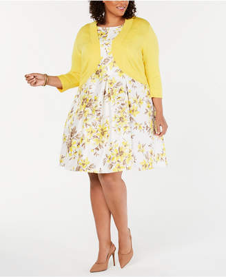 Jessica Howard Plus Size Floral-Print Fit   Flare Dress   Shrug 279b8d642