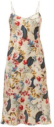 Adriana Iglesias Jadi Floral Print Silk Blend Satin Slip Dress - Womens - Nude Multi