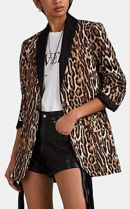 R 13 Women's Satin-Trimmed Leopard-Print Tuxedo Jacket