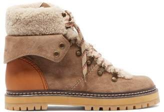 See by Chloe Shearling Lined Suede Hiking Boots - Womens - Beige White