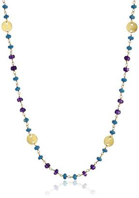 Gold-Plated Sterling Silver Disk Stations with Reconstituted Turquoise and Faceted Amethyst Necklace