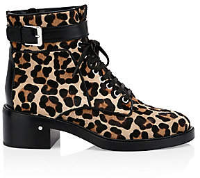 Laurence Dacade Women's Solene Leopard Calf-Hair Combat Boots