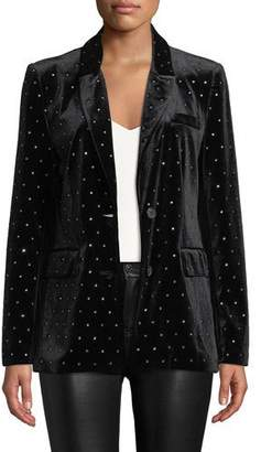 Rebecca Minkoff Morris Embellished Velvet Two-Button Jacket