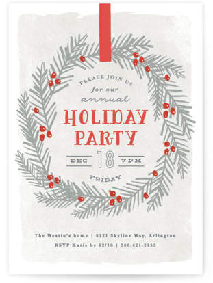 festive holiday wreath Holiday Party Invitations