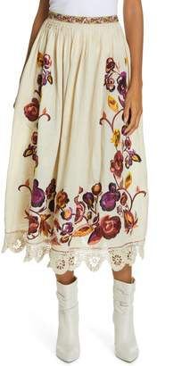 Ulla Johnson Yana Floral Embroidered Linen & Cotton Midi Skirt