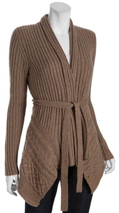 BCBGMAXAZRIA gravel brown ribbed blend 'Nolan' tie waist cardigan