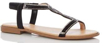 Quiz Womens Diamante Twist Strap Flat Sandals - Black