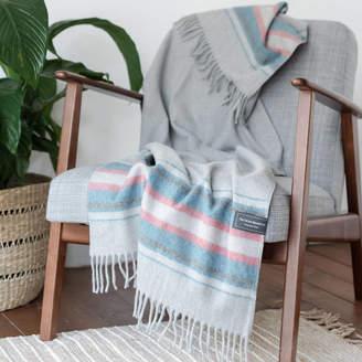 The Tartan Blanket Co. Personalised Recycled Wool Blanket In Light Grey Stripe