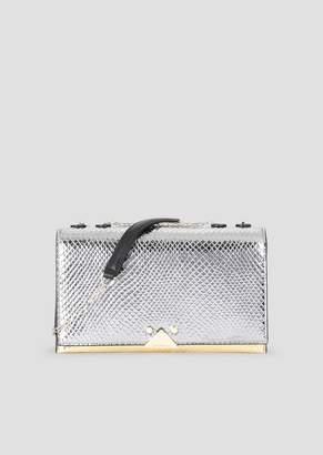 Emporio Armani Croc Print Leather Crossbody Bag