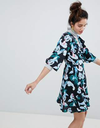 Monki Tropical Bird Print Wrap Mini Dress