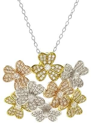 Savvy Cie Tricolor Gold Plated CZ Floral Bouquet Necklace