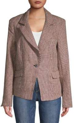 Free People Linen Checkered Blazer