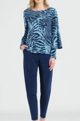 Clara Sunwoo Zebra Stripe Print Peekaboo Cuff Sleeve Top
