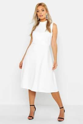 e057404281d boohoo Plus High Neck Asymmetric Midi Skater Dress