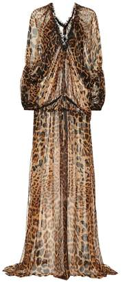 Saint Laurent Leopard silk maxi dress