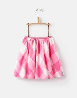 Joules Clothing Shelby Gingham Pink Carousel Glitter Trim Woven Skirt 1yr
