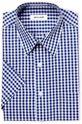 Pierre Cardin Navy Gingham Short Sleeve Dress Shirt