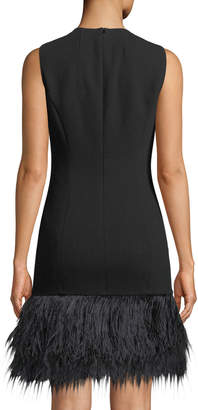 Michael Kors Sleeveless Feather-Hem Cocktail Dress