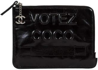 One Kings Lane Vintage Black Chanel Votez Coco Clutch BNIB