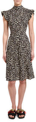 Double J Bon Ton Animal-Print Flutter-Sleeve Dress