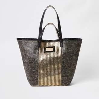 River Island Womens Black metallic woven beach bag